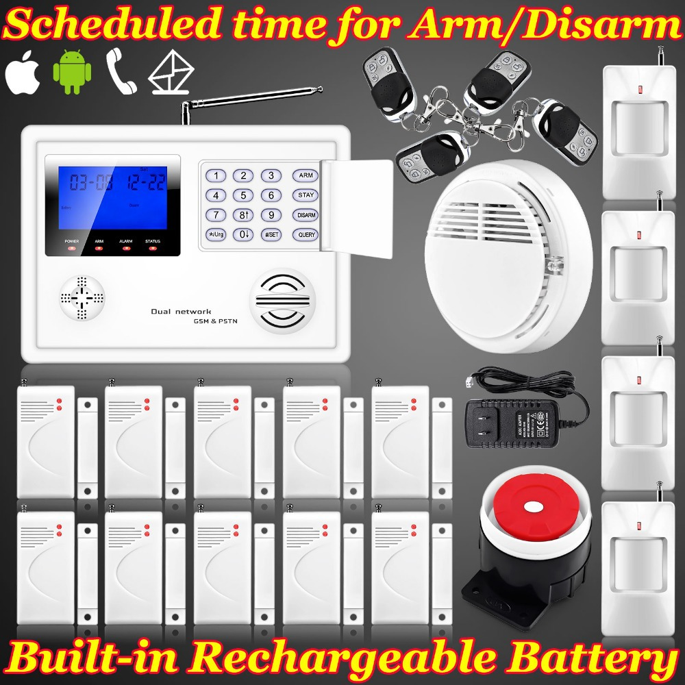 IOS/Android APP Wireless Home GSM PSTN Telephone Auto-dial Security Burglar Alarm System Kit Remote control setting Arm/Disarm