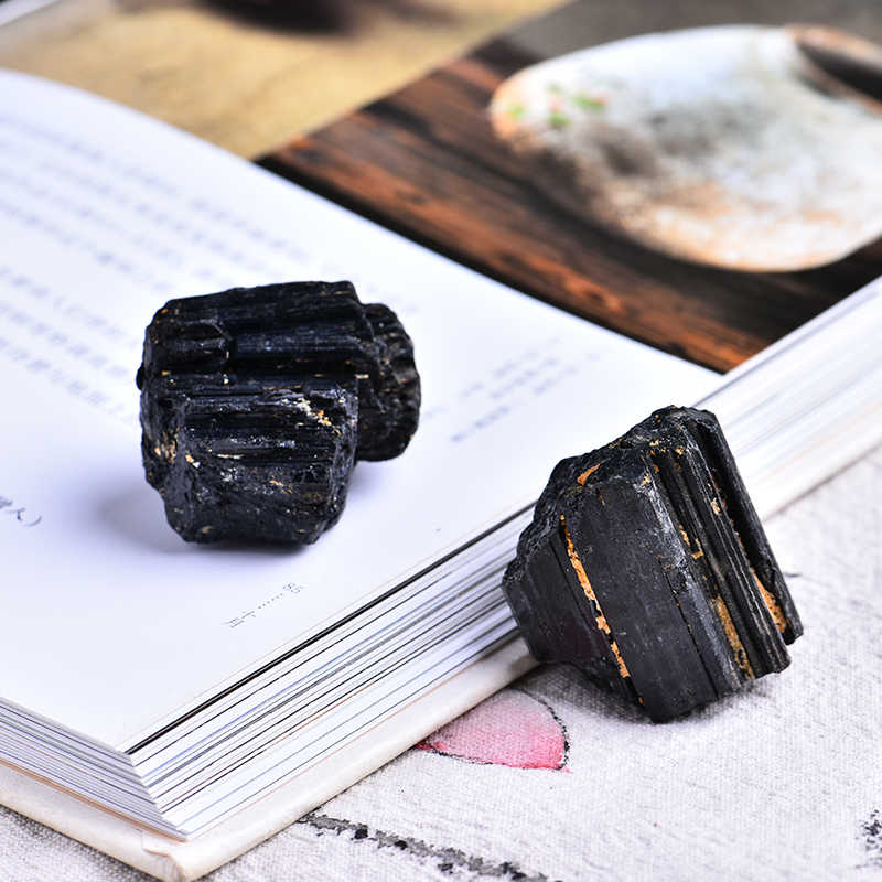 2pc natural black tourmaline tourmaline repair ore can be used for home decoration  DIY gift cokkection free shipping