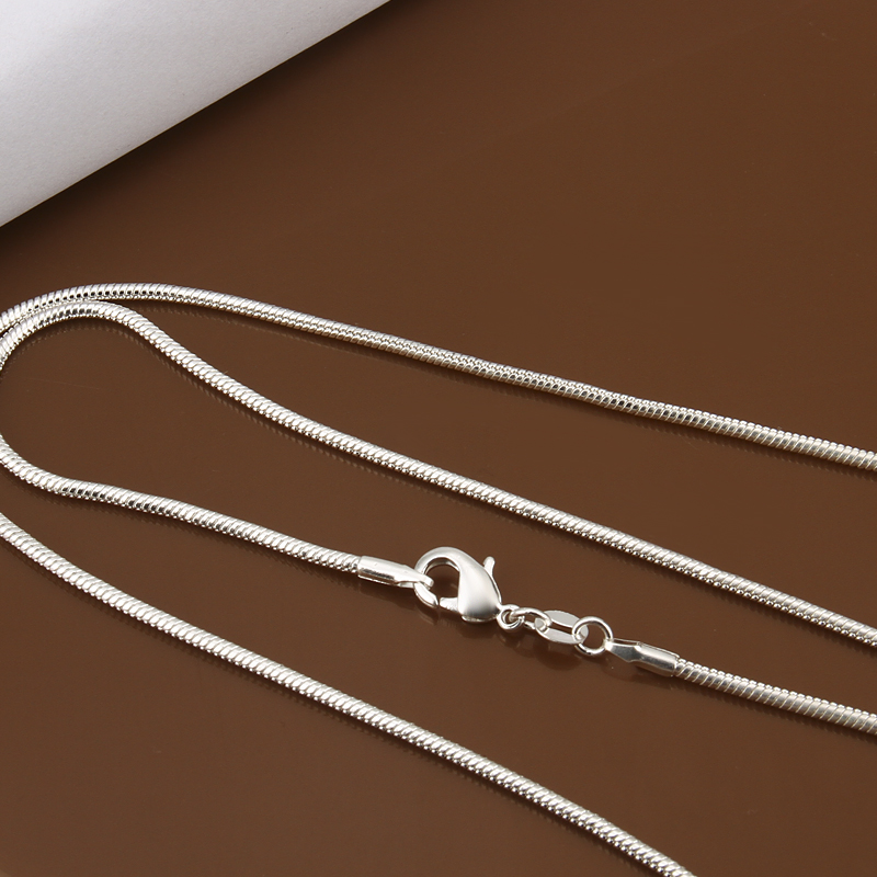 """925 Silver Plated 2MM Snake Chain Necklace Women Men Jewelry 16/"""" 18/"""" 20/"""" 22/"""" 24/"""""""