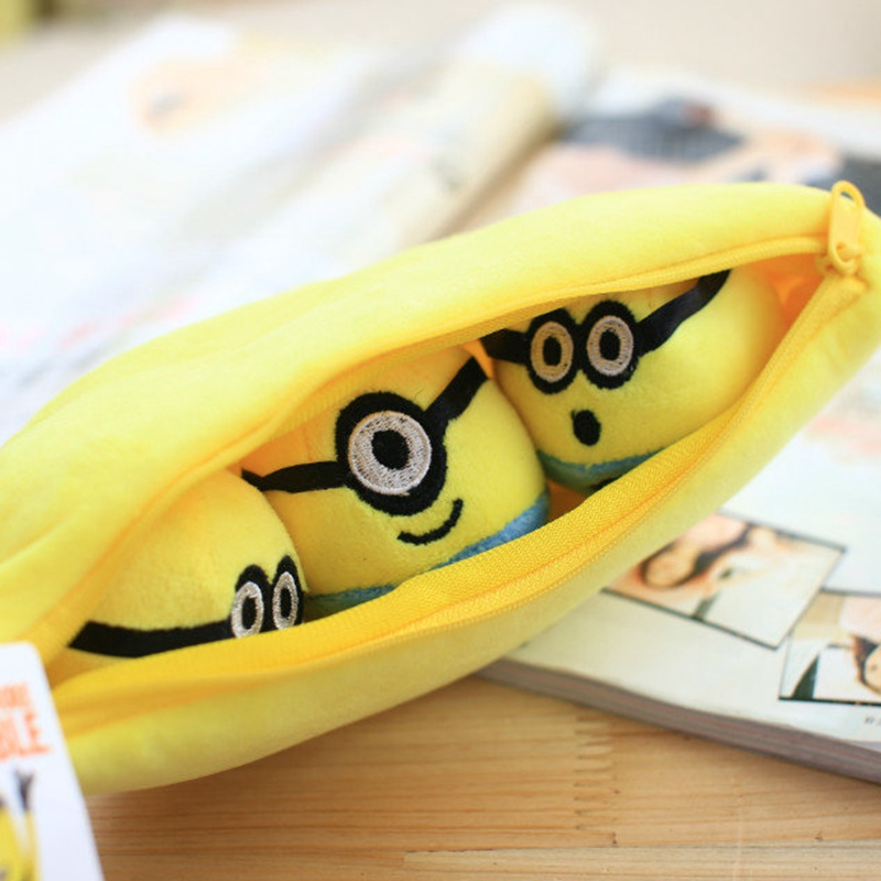 1pcs 30cm Despicable Me 2 Stuffed Plush toy doll film anime Minions pea banana style cotton hold pillow baby kids gift water jet guided laser