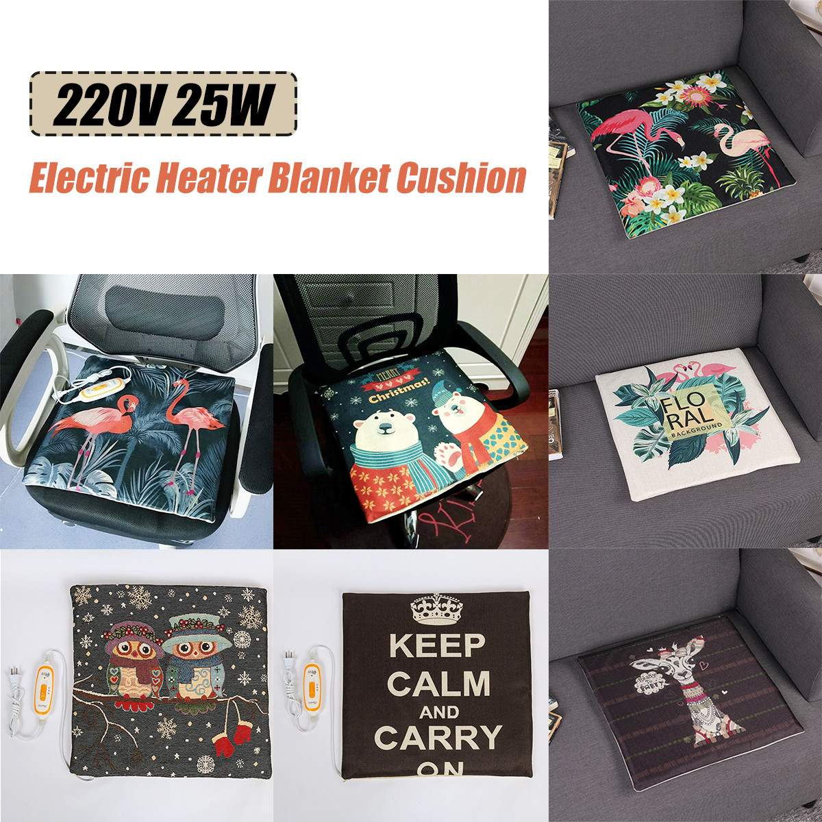 220V Electric Heater Cushion + Back Pillow Car Seat Pads Home Office Chair Mat Bed Body Winter Warmer