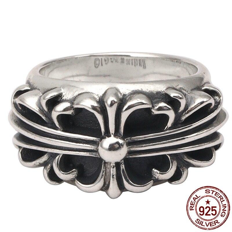 100% S925 bague en argent sterling personnalité mode rétro punk style croix fleur lettre style bijoux pour envoyer des cadeaux pour les amoureux