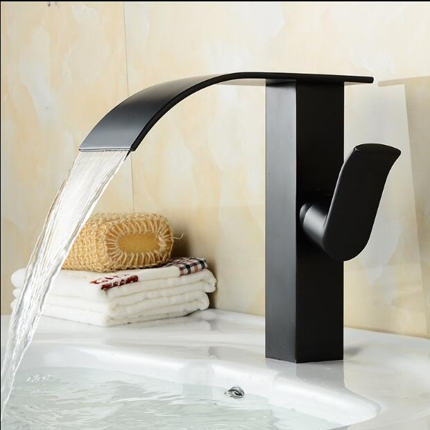 bathroom tall waterfall faucet basin tall crane Waterfall basin tap Bathroom Basin Mixer Tap with Hot and Cold Water tap