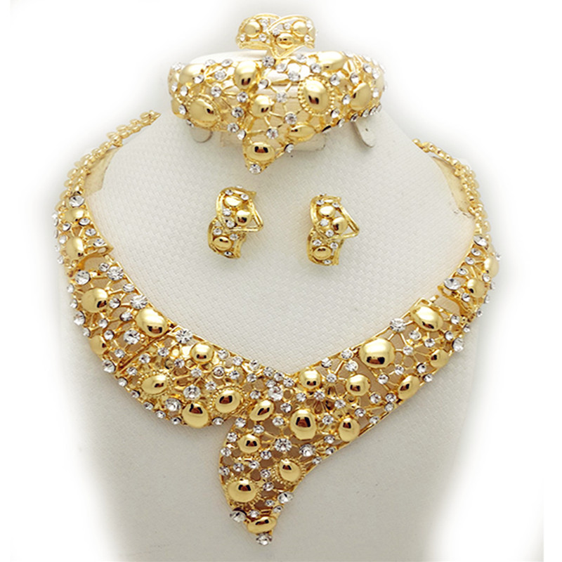 women indian wedding jewelry sets gold color party bridal accessories costume jewelry sets necklace earrings