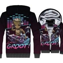 I love Groot Jacket Men Super Hero Hoodie Funny Hooded Sweatshirt Winter Thick Fleece Warm Zip up 3D Print Coat Plus Size 5XL цена и фото