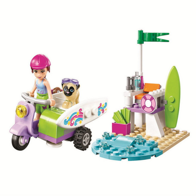 10603 BELA Friends Series Mia's Beach Scooter Model Building Blocks Enlighten DIY Figure Toys For Children Compatible Legoe decool 3117 city creator 3 in 1 vacation getaways model building blocks enlighten diy figure toys for children compatible legoe