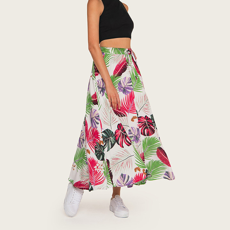 Wasteheart Summer Black Bohemian Women Fashion Sexy Skirt High Waist Ankle Skirt Flower Printed Long Skirts Beath A Line in Skirts from Women 39 s Clothing