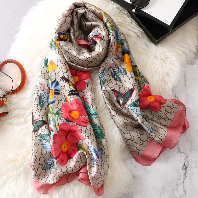 Image 4 - new ladies scarf summer flower pattern silk scarf spring and autumn wild oversized shawl Europe and America wild beach towelWomens Scarves   -