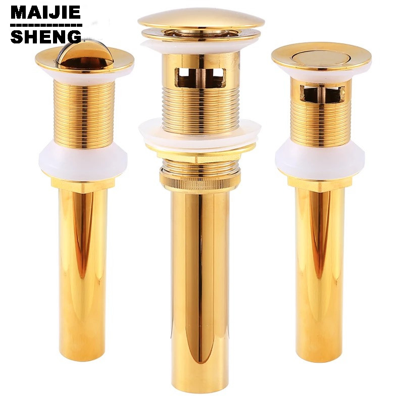 Pop Up Drain With overflow basin sink drain Gold bathroom parts faucet accessories Good Solid Brass Bathroom Lavatory Sink free shipping wholesale and retail solid brass bathroom lavatory sink pop up drain rose gold color