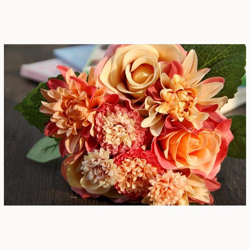 Aliexpress Silk Flower 1 Bouquet Roses Dahlias Artificial Flowers Fall Fake Leaf Wedding Home Decoration High Quality Light Orange From