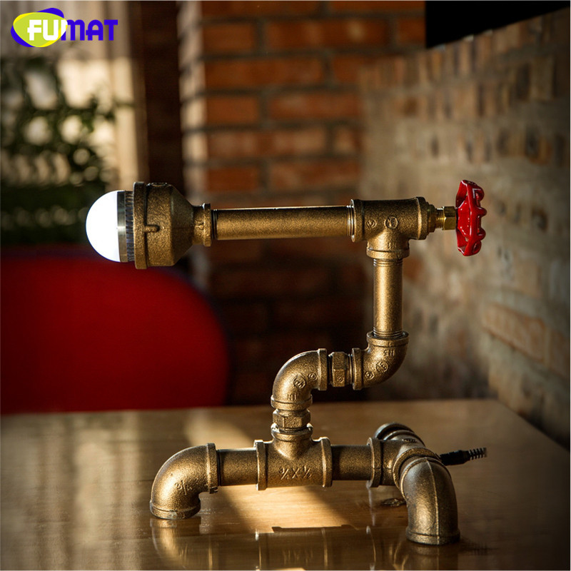 цена FUMAT Vintage Iron Pipe Loft Table Lamp Creative Phonograph Table Light Study Bedroom Bedside Desk Lamp Workshop Table Lamp