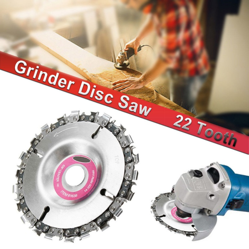 4 Inch Grinder Disc And Chain 22 Tooth Fine Cut Chain Set For 100/115 Angle Grinder Wood Carving Disc Chain