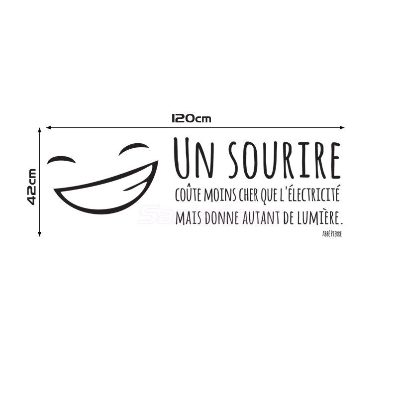 Autocollants français citation Un Sourire vinyle Stickers muraux Art Mural pour enfants et salon décoration de la maison décoration de la maison