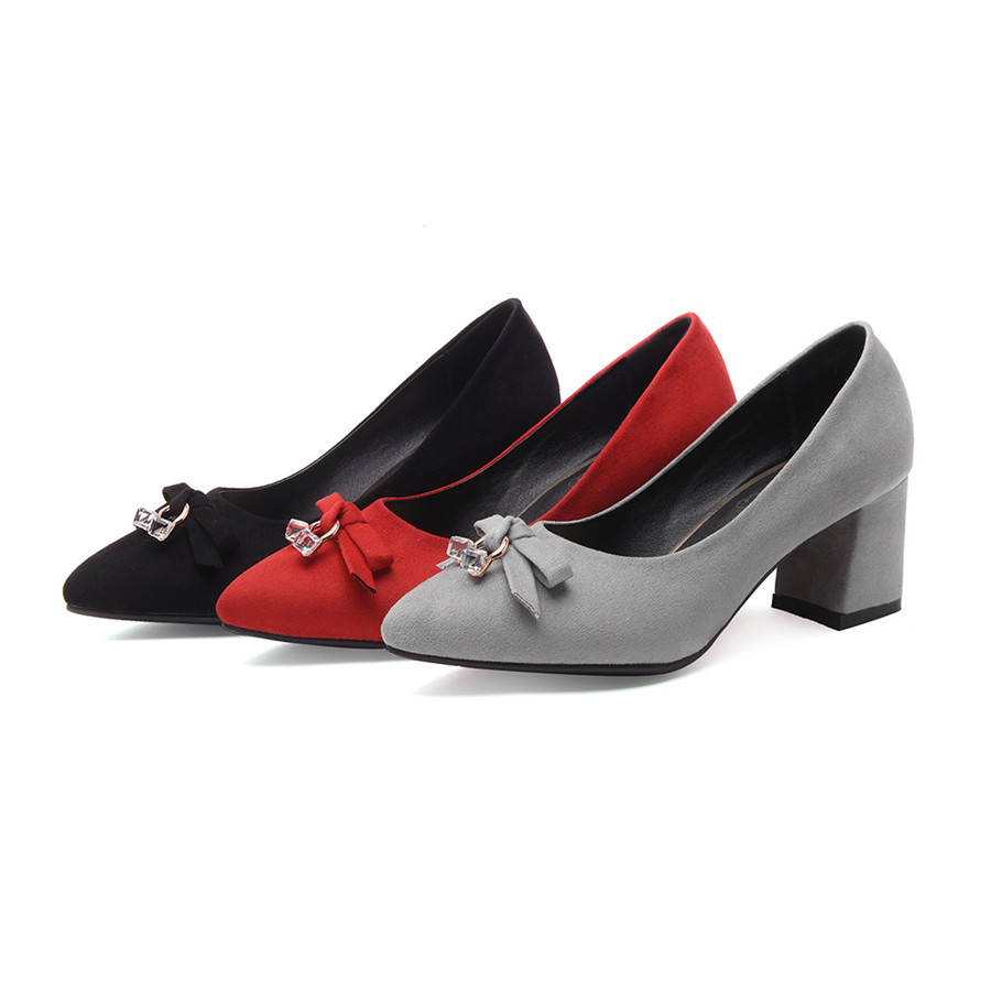 Plus Big Size Spring Bow Block High Heels Women Sandals Flock Pointed Toe Autumn Party Office Crystal Bowtie Velvet Ladies Shoes new 2017 spring summer women shoes pointed toe high quality brand fashion womens flats ladies plus size 41 sweet flock t179