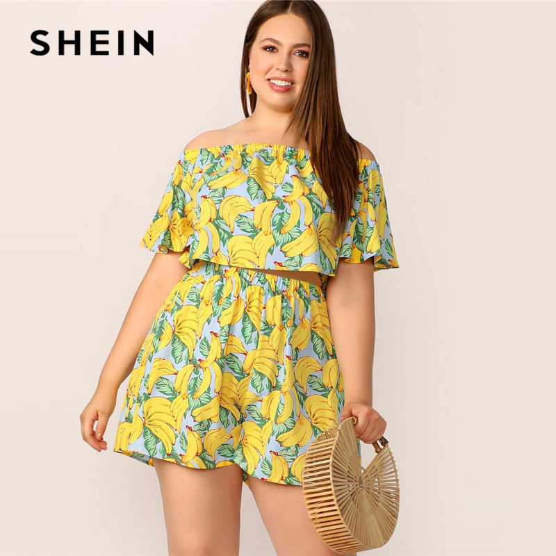 645c004368 SHEIN Plus Size Yellow Off Shoulder Banana Print Flounce Sleeve Crop Top  And Shorts Set Summer