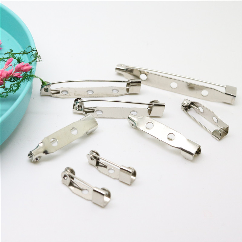 1000pcs 30mm Safety Lock Back bar Pin DIY brooch base, Dual Brooch Back Base With Safety Pin use for brooch and hair jewelry