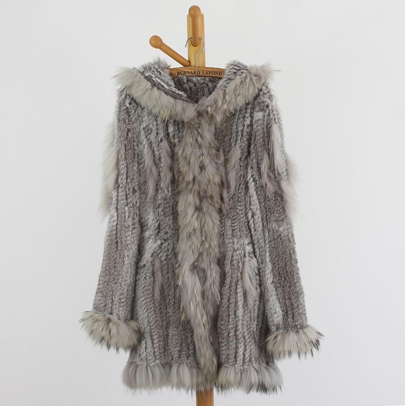 2017 mode nouvelles femmes véritable réel fourrure de raton laveur garniture réel lapin fourrure tricoté manteau veste vraie fourrure tricot veste manteau RJ0008