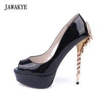 Sexy Schapen schorpioen metalen Hoge hak Trouwschoenen Vrouw Zwart goud Blauw Rood Ronde Peep Toe Pompen lederen Platform schoenen
