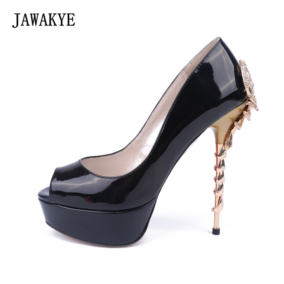 Sexy Sheep scorpion metal High heel Wedding Shoes Woman Black Gold Blue Red Round Peep Toe Pumps genuine leather Platform Shoes 2017 new womens pumps peep toe 10cm sexy high heel platform shoes woman single shoes office lady shoes wedding shoes