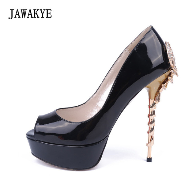 Us 665 30 Offsexy Sheep Scorpion Metal High Heel Wedding Shoes Woman Black  Gold Blue Red 5151a955bbc9