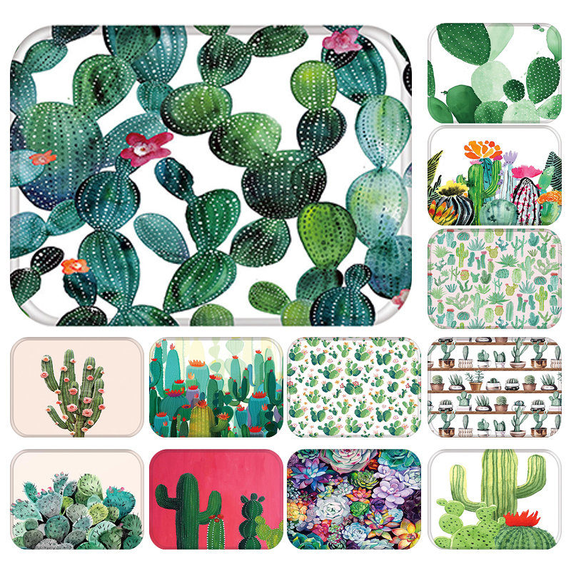 Door-Mat Carpet Rubber Entrance Anti-Slip Cactus Kitchen Colorful Suede Floor 48261