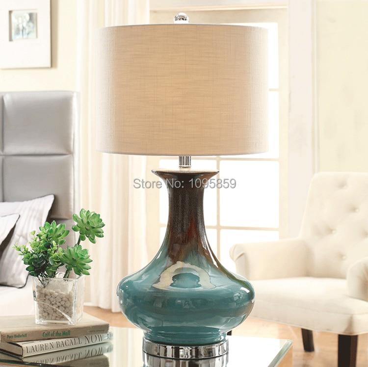 Florero azul moderna lámpara de mesa de cerámica salón dormitorio ...