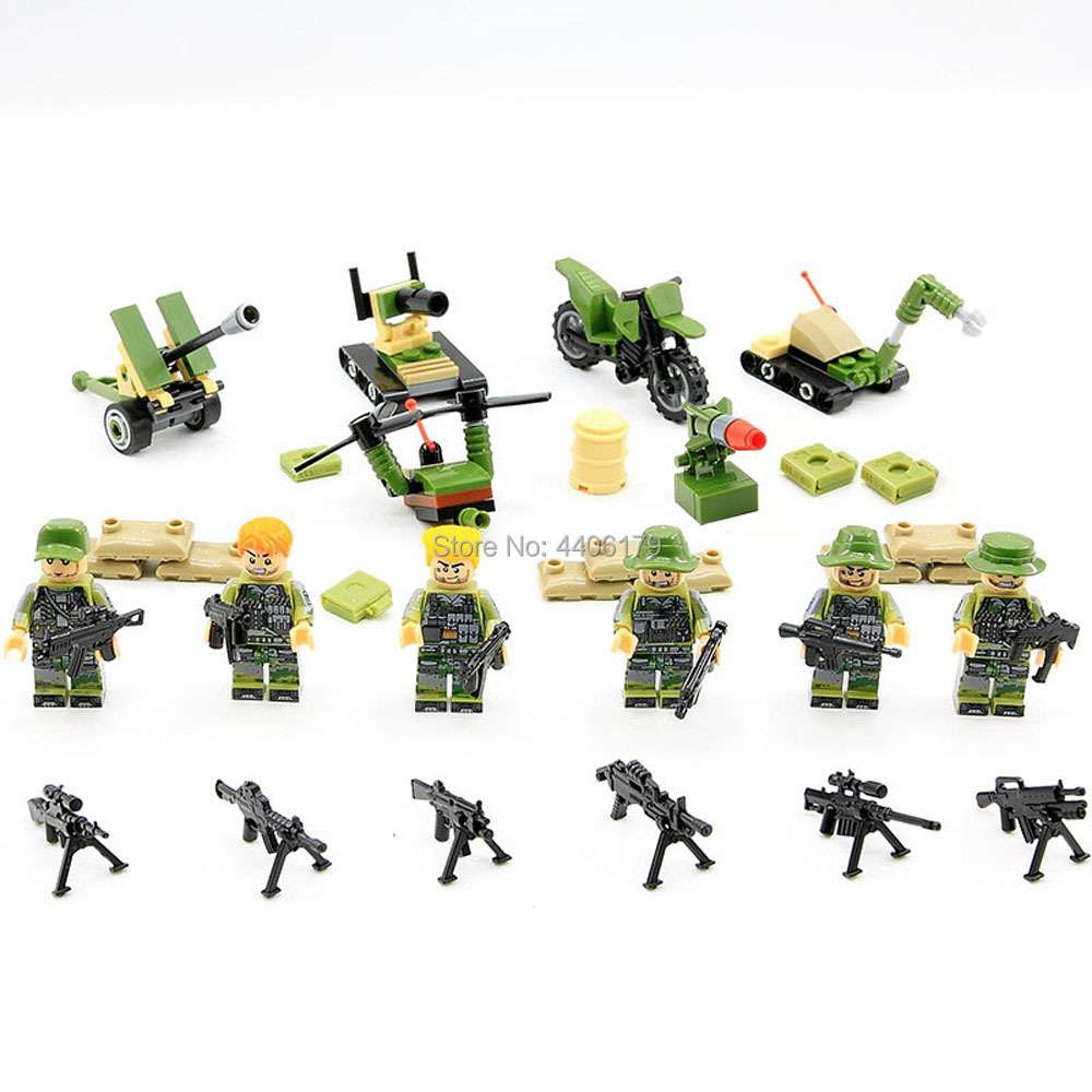 6 PZ hot compatible LegoINGlys military WW2 US army Jungle war Building Blocks mini weapon guns figures bricks toys for children in Blocks from Toys Hobbies