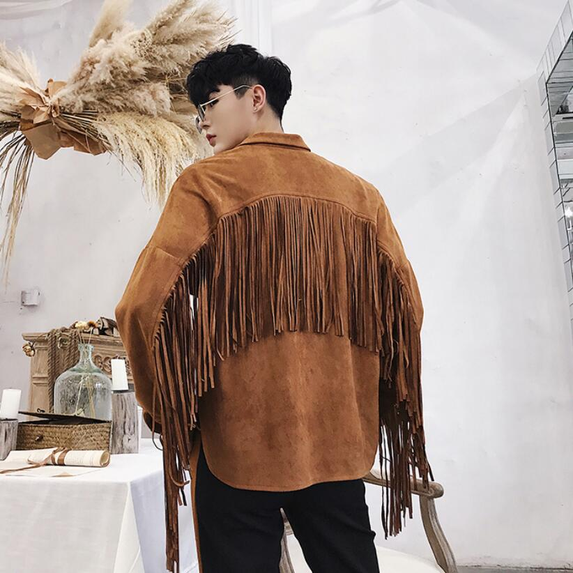 Nightclub singer tassel design punk hip hop jacket stage coatume autumn men suede personality hiphop street style coat clothes-in Jackets from Men's Clothing