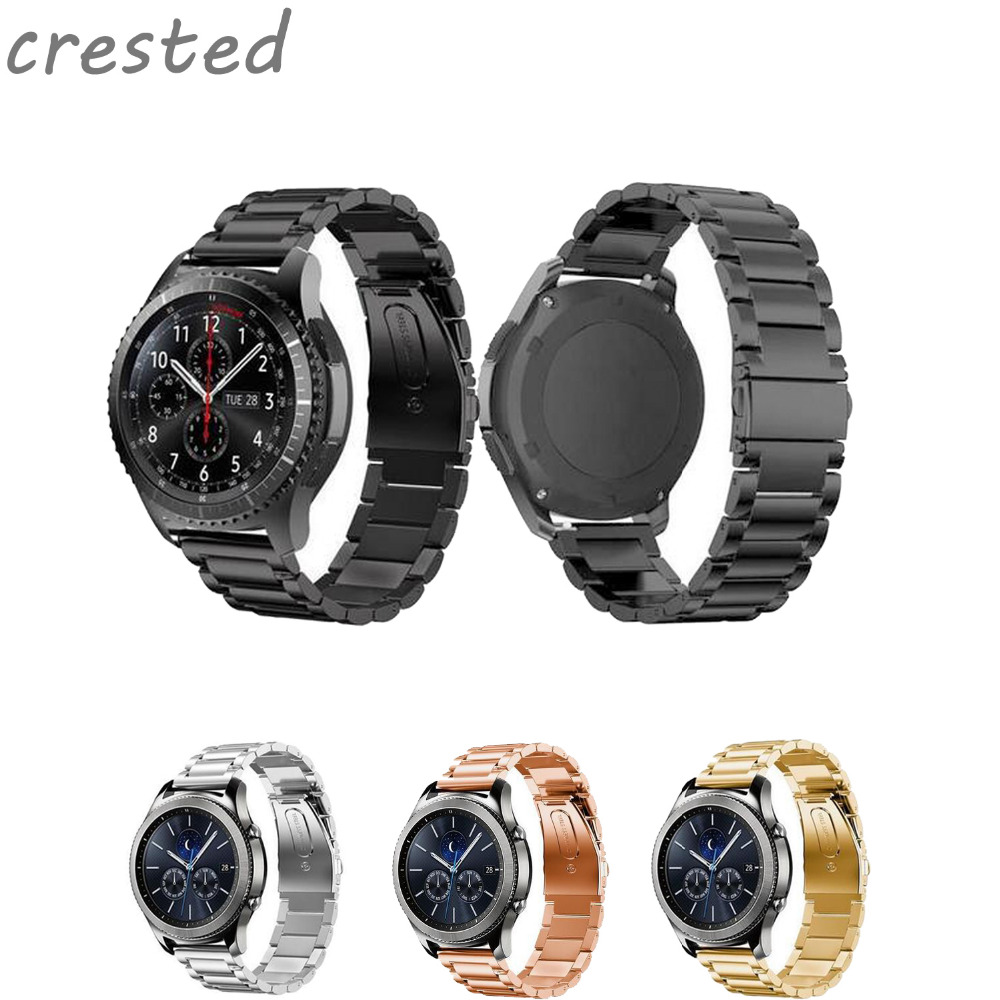 CRESTED stainless steel bracelet watch band strap for samsung gear s3 Wrist watch band Replacement metal band crested genuine leather strap for samsung gear s3 watch band wrist bracelet leather watchband metal buck belt