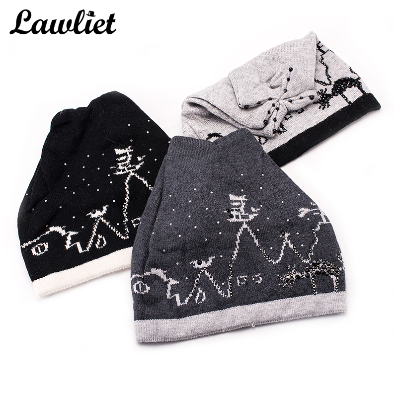 Unisex Autumn Winter Hats Women Beanies Cap Cashmere Printed Crochet Knit Baggy Beanie Slouchy Oversize Ski Bonnet Hat Man Gorra pentacle star warm skull beanie hip hop knit cap ski crochet cuff winter hat for women men new sale