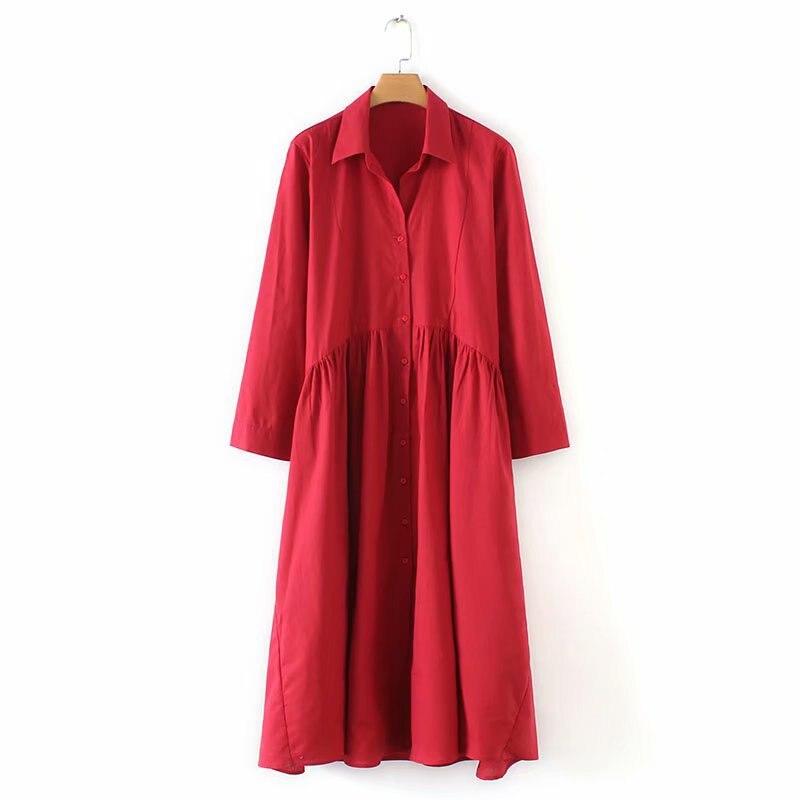 JOYINPARTY femmes rouge robe mi-longue trois quarts manches col rabattu plissé décontracté mi-mollet robes solide droite robes