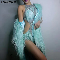 Sexy Hollow Crystals Bodysuit 3 Colors Feathers Cloak Coat Nightclub Female Singer Star Stage Costume Bar Party Show Dance Wears