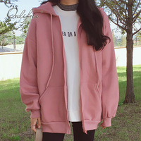 Ordifree Female Sweatshirt Casual Coats Pink Black 2018 Autumn Winter Warm Fleece Women Hooded Sweateshirt Hoodie