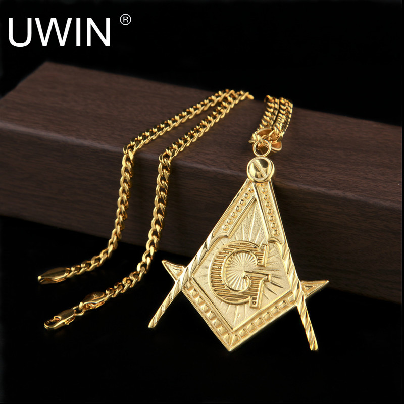 Uwin big gold masonic pendant stainless steel silver gold color uwin big gold masonic pendant stainless steel silver gold color metal freemason pendant necklace chain hip hop punk jewelry in pendants from jewelry aloadofball Gallery