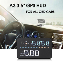 A3 Auto 3.5″ Car GPS HUD Head Up Display Projector Satellite Data OBD Interface Engine Fault Alarm Dynamic Speed for OBD Cars