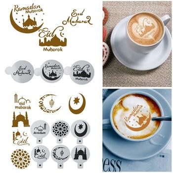3/6Pcs Eid Mubarak Ramadan Coffee Printing Template Spray Stencil Set DIY Fondant Cake Biscuits Decoration Tools Drink Decor