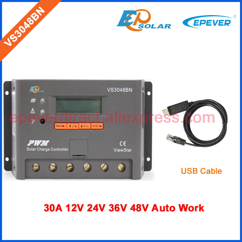 Advanced automatic 12v 24v 36v 48v work solar controller High qulaity PWM Charger regulator with USB cable connect PC VS3048BN vs3048bn 30a 24 48v auto pwm controller network access computer control can connect with mt50 for communication