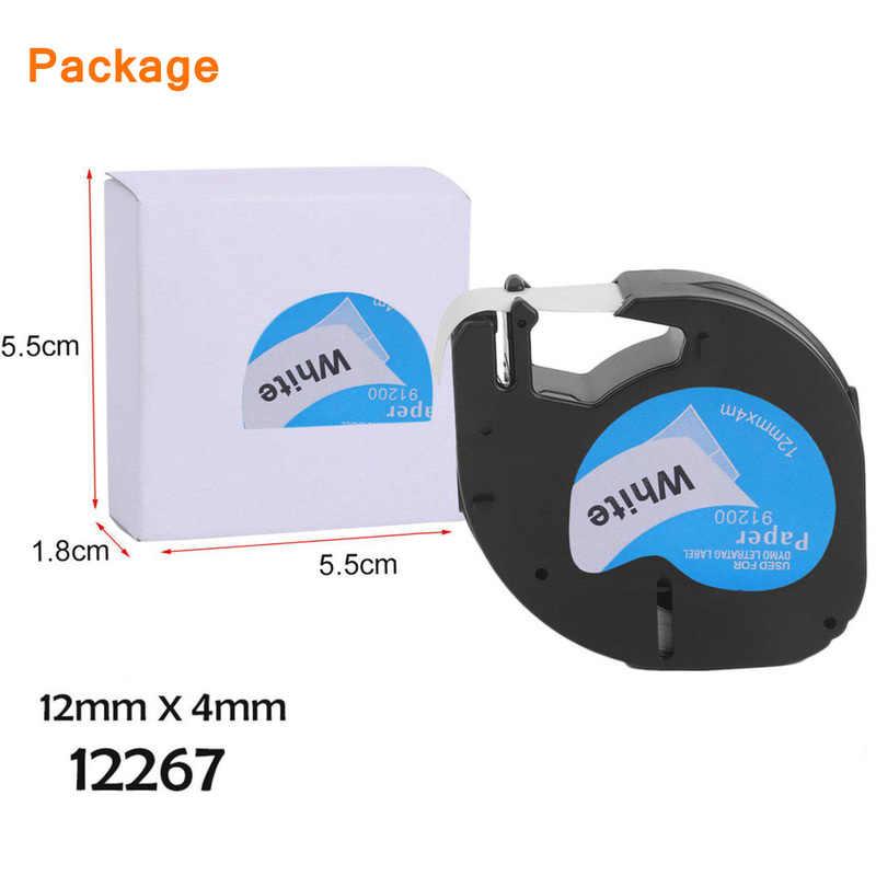 12mm 91201 compatible con Dymo letratag las cintas de etiquetas 12267, 91200, 91202, 91203, 91204, 91205, 91331, 91221, 59422 para Dymo LT-100H impresora