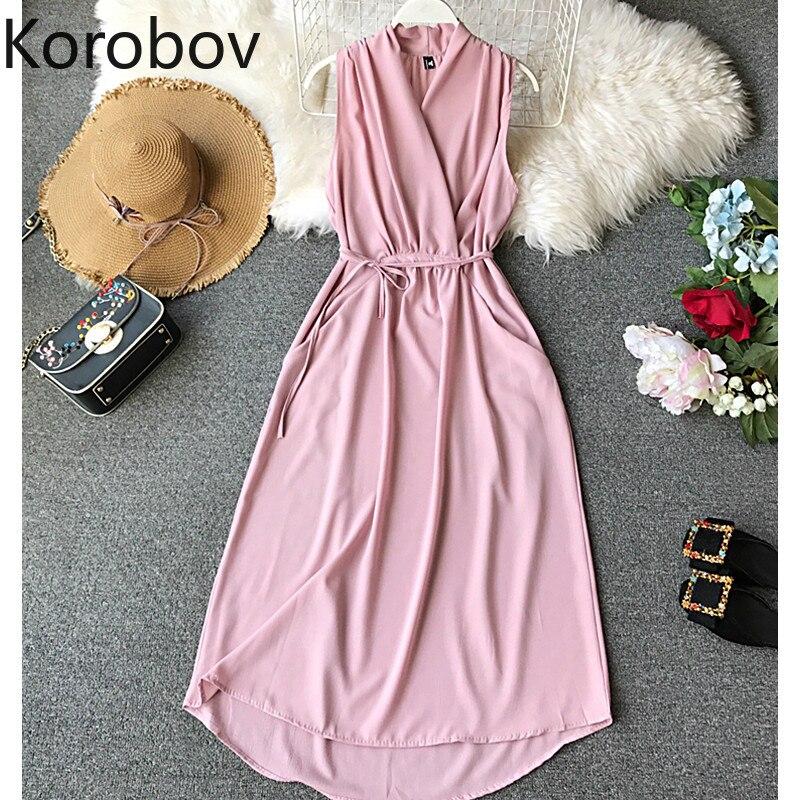 Женское офисное платье Elegenat, длинное плиссированное платье из шифона без рукавов с треугольным вырезом, розовый/черный/синий/винно-красный ...