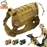 Tactical Dog Training Vest Harness Military K9 Water Resistant Harness With Detachable Molle Pouches Patches For