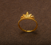 Pure 999 24K Yellow Gold An crown Ring 2.96g