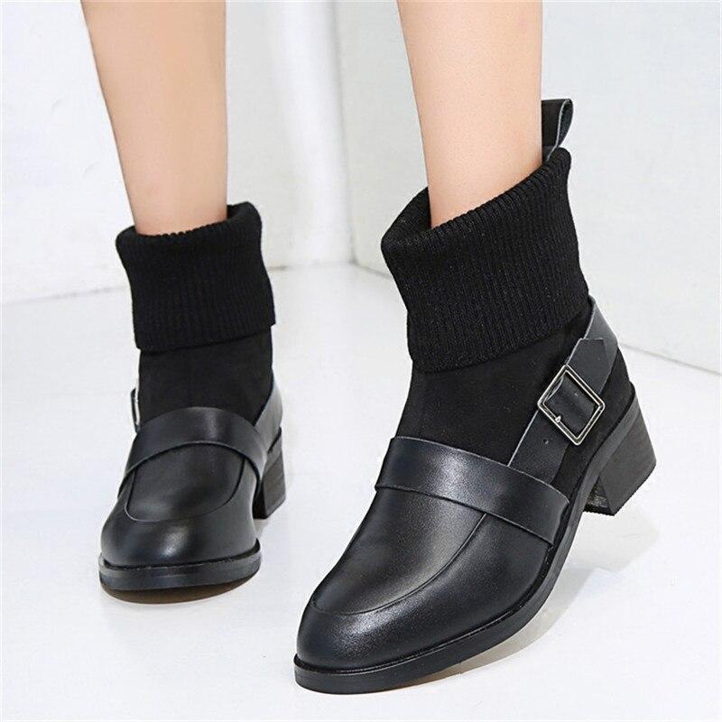 Новейшие круглый носок Ботинки Челси стрейч шерстяной вязаный носок полусапожки для Для женщин пряжками Ботильоны