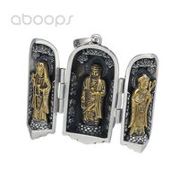 Two Tone 925 Sterling Silver Locket Pendant with Buddha for Men Women Free Shipping