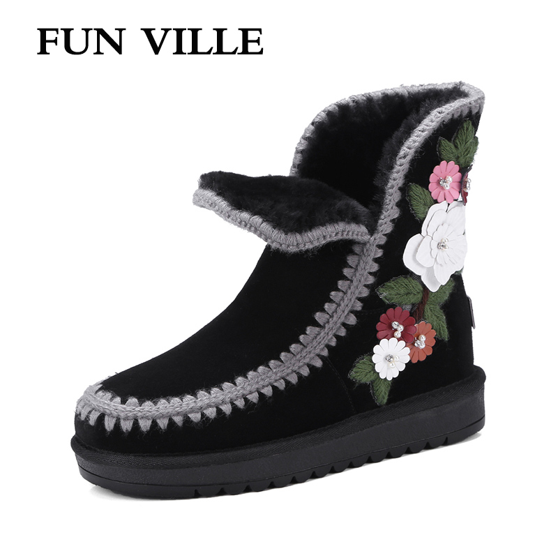 FUN VILLE New Fashion Woman Increased within snow boots black Real Fur Wool Ankle boots warm Winter Shoes for Women size 34-42 встраиваемый светильник uniel peonia 09982