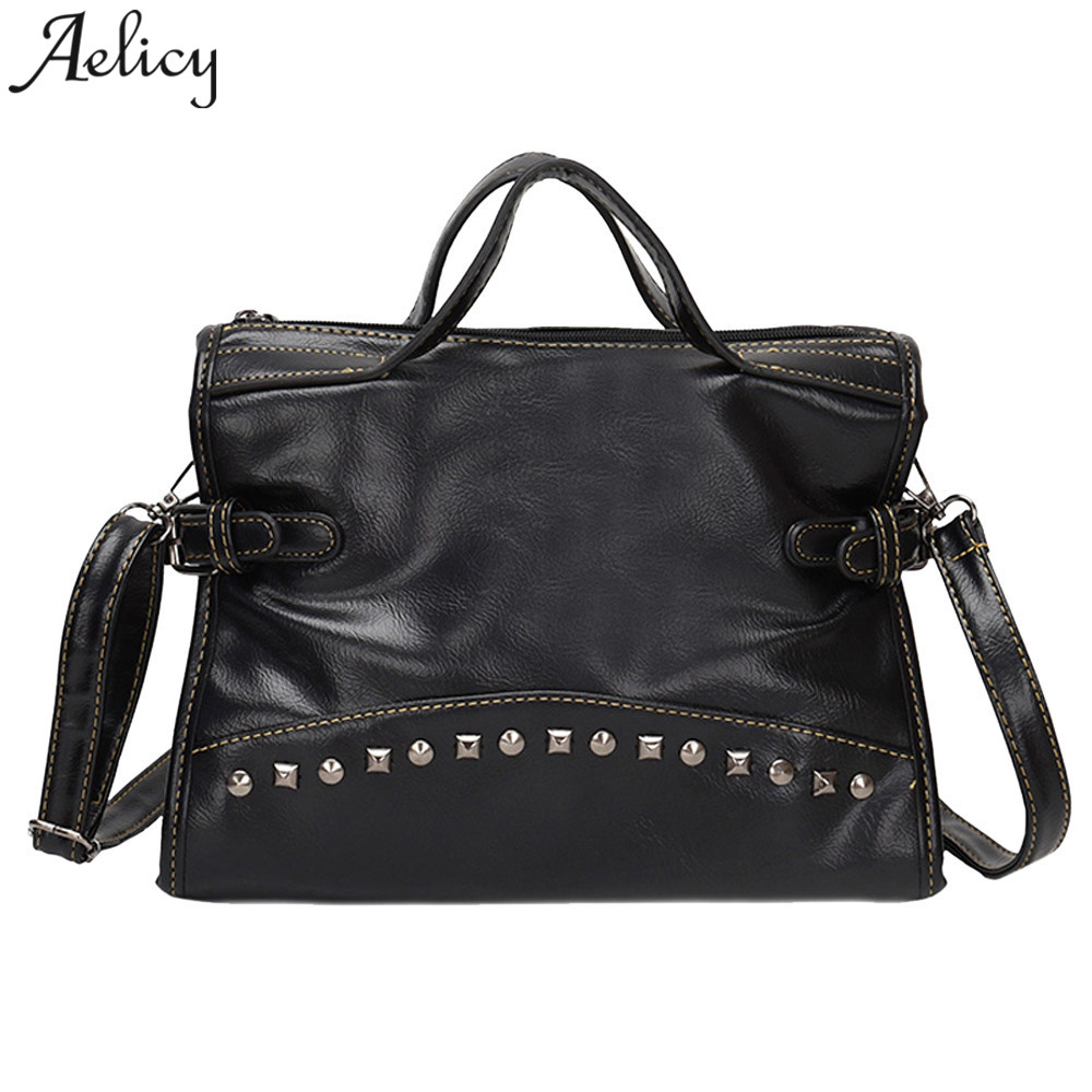 Aelicy bags leather Tote women Girls handbags Lady Girls 30cm Vintage  Rivets zipper soft Travel Bucket 96496c8c20
