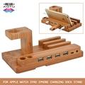 Últimas multi funcional real de madera de bambú soporte de carga universal/soporte para apple watch/para iphone 6 6 s para samsung + 4 usb puertos