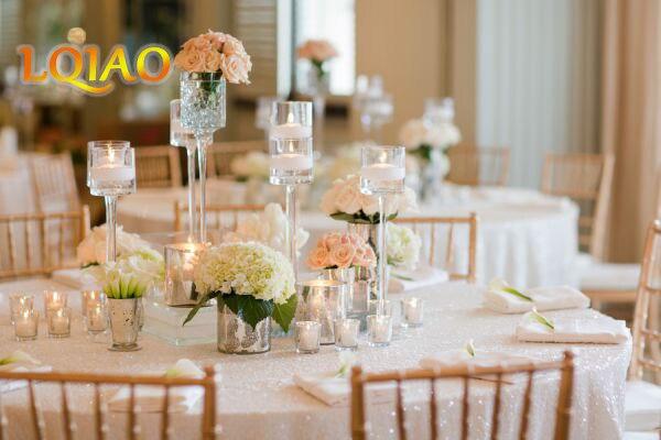"""Hurtownie 120 """"okrągły (300 cm) białe cekiny obrusy na wesele obrus brokatowe cekiny tabeli pokrywy do dekoracji ślubnych w Obrusy od Dom i ogród na  Grupa 2"""