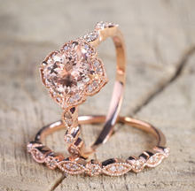 14K Rose Orange Fashion Close Flowers Womens Ring Gold  Zircon Diamond Square Engagement Jewelry Geometric All Size
