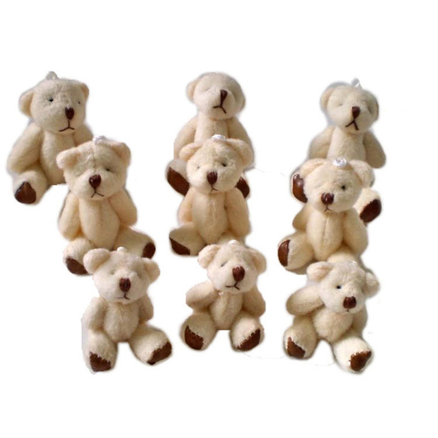 10PCS/lot Mini Joint Bear Plush toys Wedding gifts Kids Cartoon toys Christmas gifts Couple Gifts Wholesale Hot sales DDW04