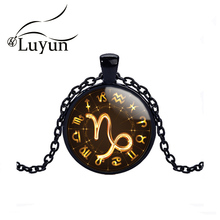 Luyun Vintage Glass Dome Necklace Constellation Pendant Crystal Long Customizable